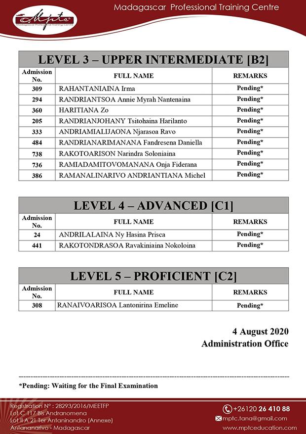 MPTC ENGLISH EXAM RESULTS SATURDAY CLASS